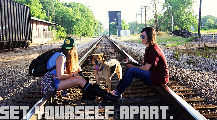 Guthrie with dog on tracks, Set Yourself Apart